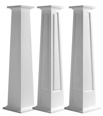 Square Tapered Column wraps for use around existing posts. Panel styles include plain, raised or recessed.