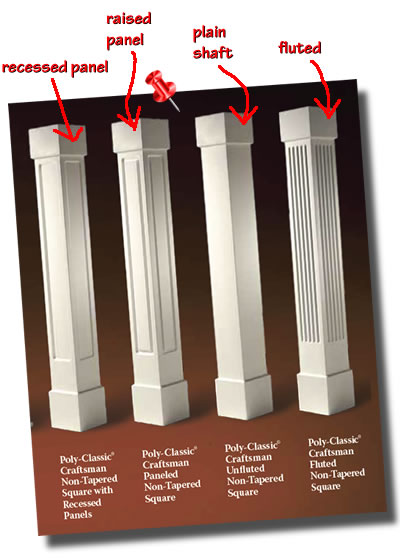 Different panel styles for square non-tapered columns include recessed, raised, plain and fluted