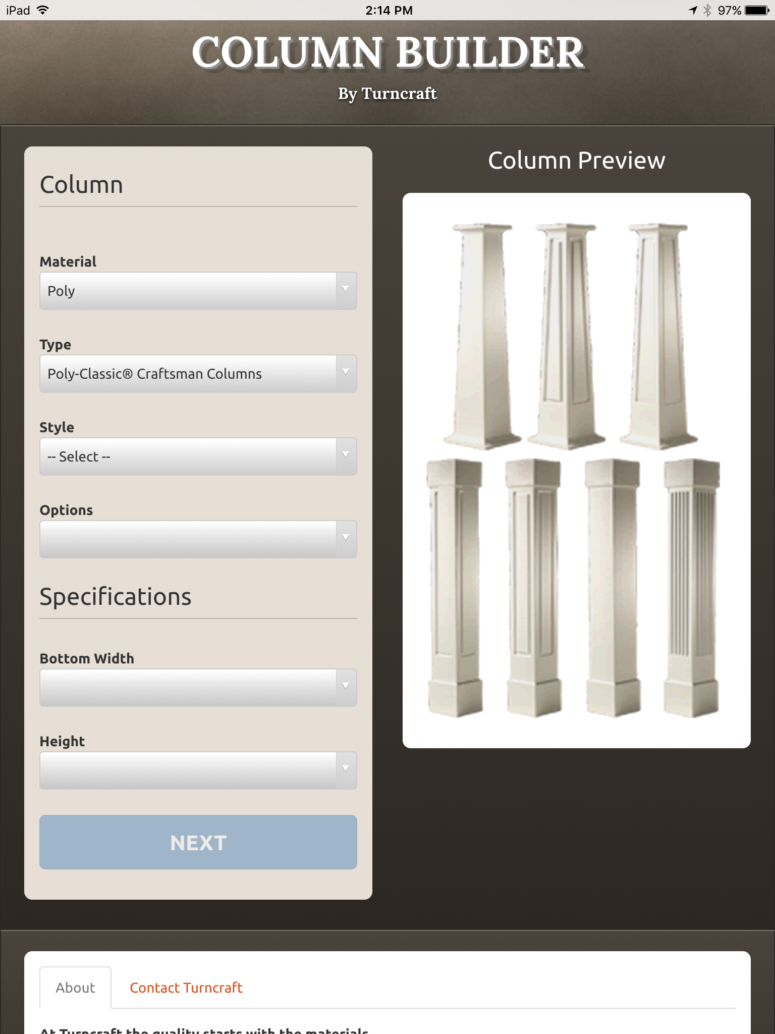 Tool provided by Turncraft to develop a column specification.